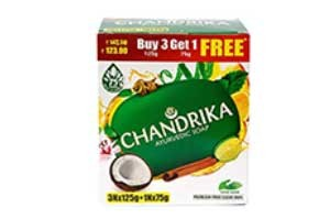 Chandrika Ayurvedic Soap 3x125gm get one 75gm Soap free