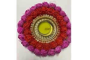 Diwali Decorative Diya Candle Holder (Pink and Red)