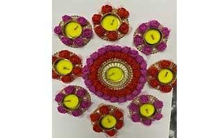 Artificial Flower Decorative Diya Set of 9 Diya