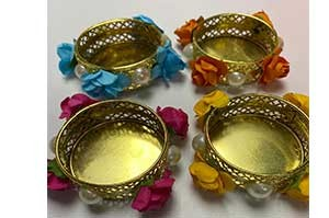 Artificial Flower Decorative Diya Set of 4 Diya