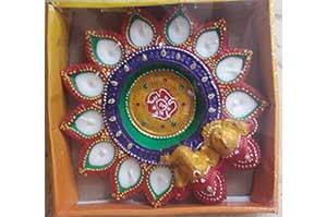 11 Faces Laxmi Ganeshji Diya Thali with wax